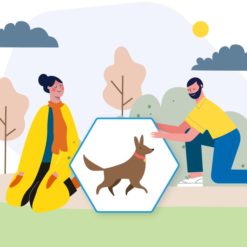 Transplant-Wissen > Nach der Transplantation > Organtransplantation Haustier, Transplantation Haustiere, Infektionen durch Haustiere > Mann und Frau mit einem Hund