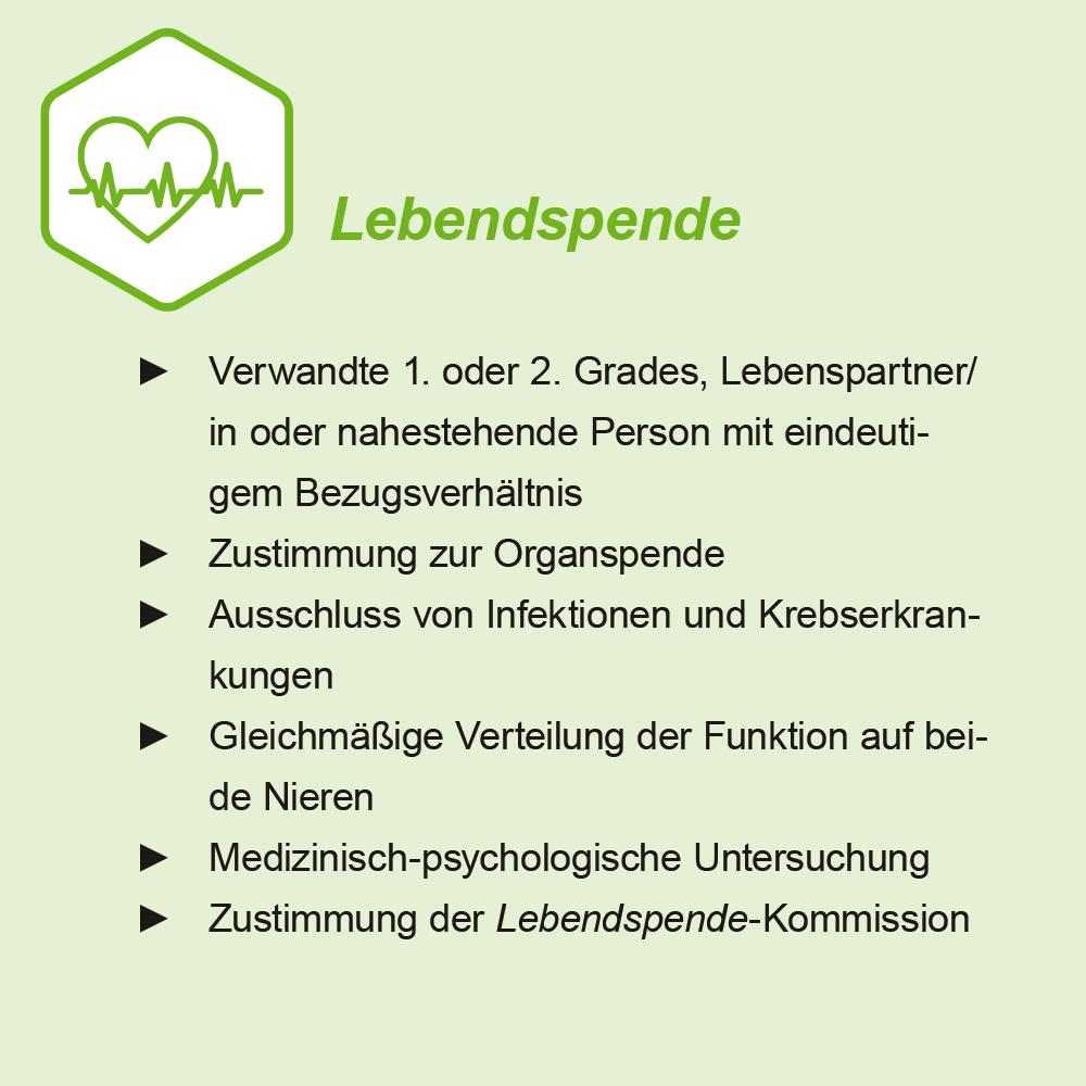 Transplant-Wissen > Infos fuer Spender > Lebendspende, Voraussetzungen, Lebendspende Bedingungen